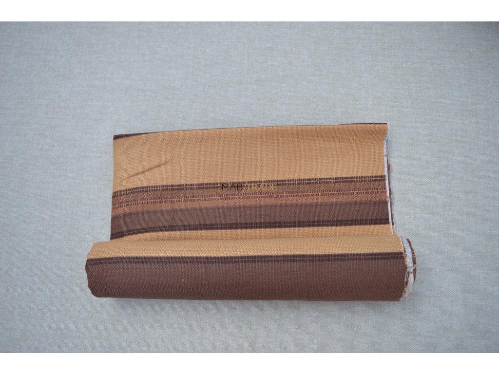 Bavlněné plátno Loneta hnědé pruhy Kód 1081-1013