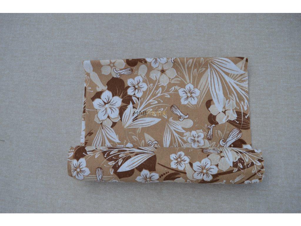 Bavlněné plátno Loneta bílo hnědé květy Kód 1081-1009