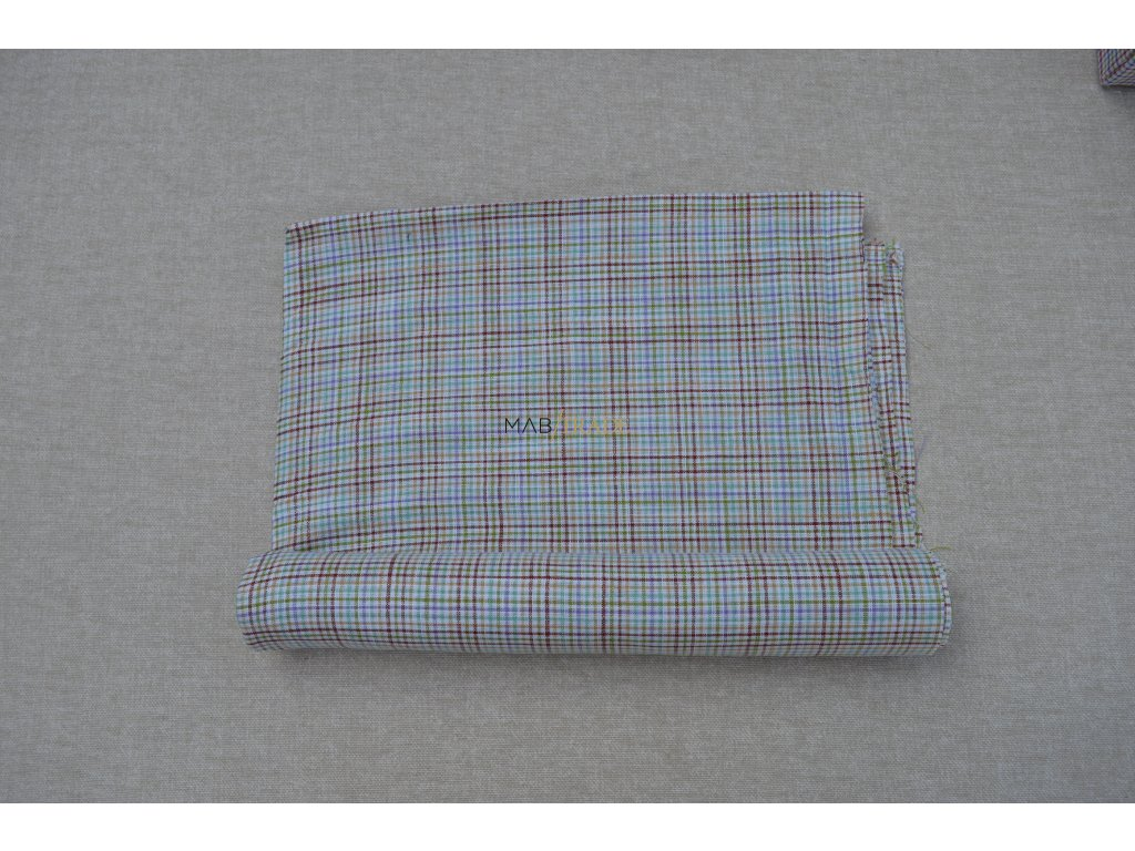 PLÁTNO 100% Bavlna hnědo zelené kárko Kód 1030-1603