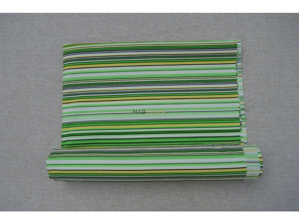 Plátno Ba/Pse zeleno bílo žluté pruhy Kód 1030- 40