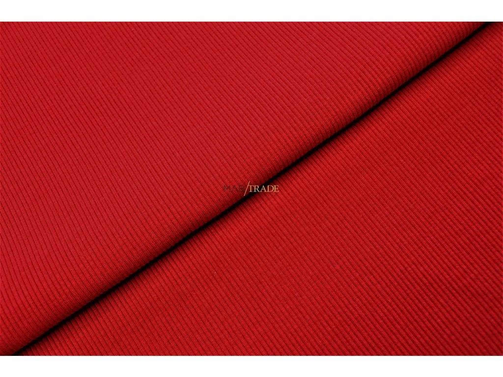 Bavlněný úplet - RIB 2x1 Hrubý Červený Kód 6222-11801