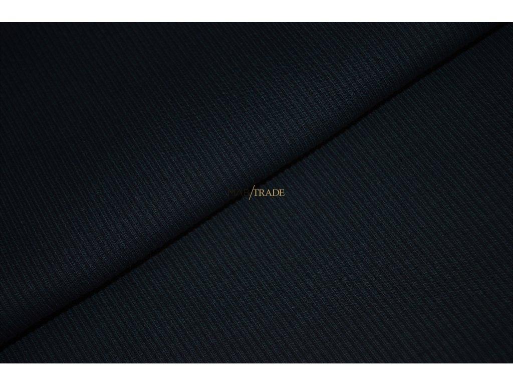 Bavlněný úplet - RIB 2x1 hrubý tm. Modrý Kód 6222-2004