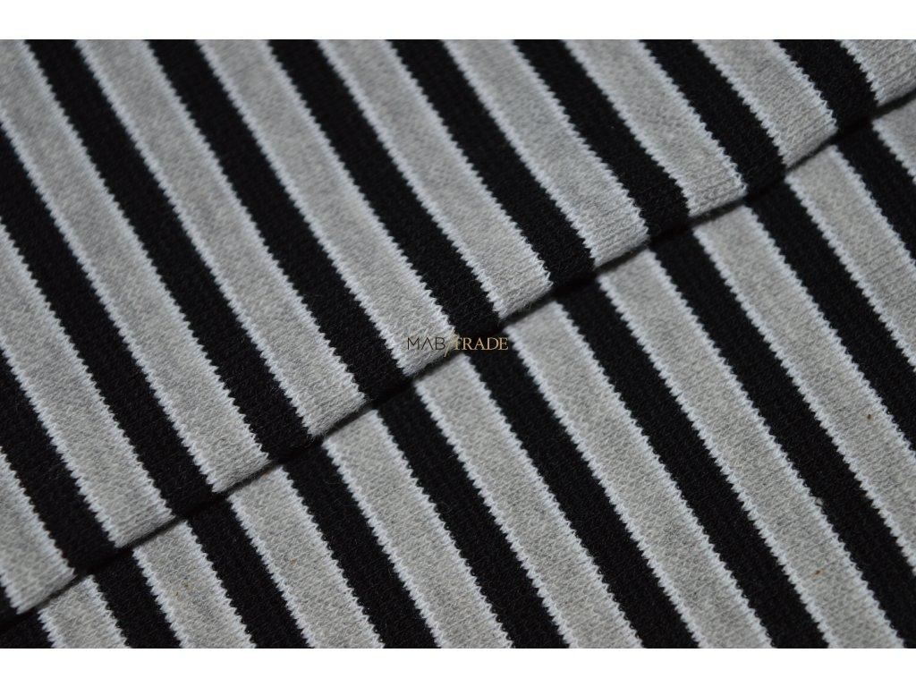 Bavlněný úplet - RIB 1x1 hladký Šedý a Černý pruh Kód 6202-0006/R