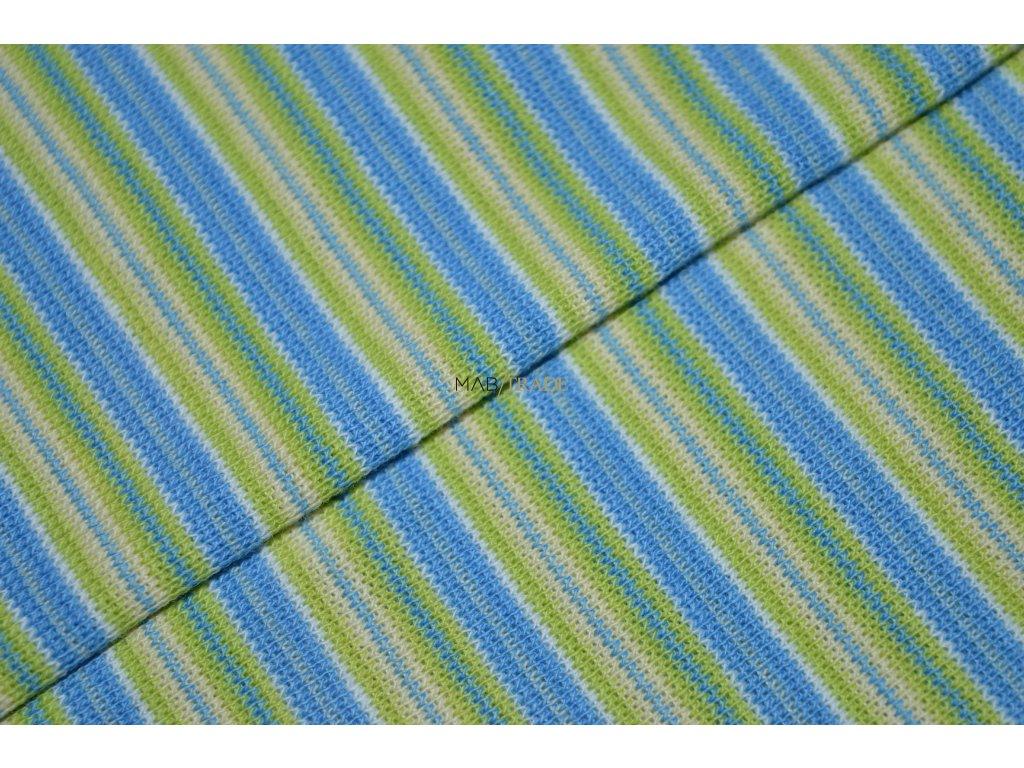 Bavlněný úplet - RIB 1x1 hladký Zelený a Modrý pruh Kód 6202-0011/R