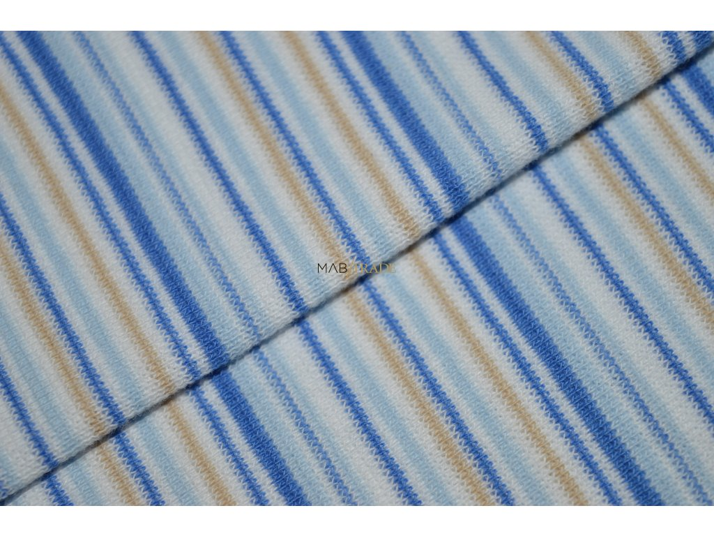 Bavlněný úplet - RIB 1x1 hladký Béžový a Modrý pruh Kód 6202-0009/R