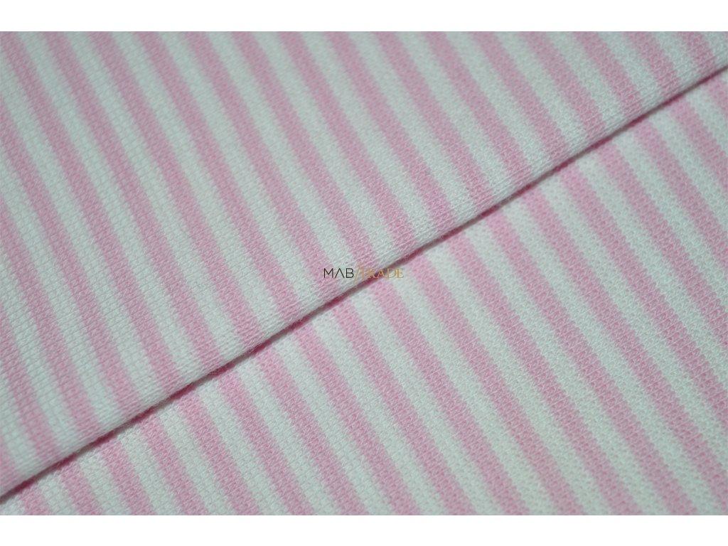 Bavlněný úplet - RIB 1x1 hladký Růžový a Bílý pruh Kód 6202-0018/R