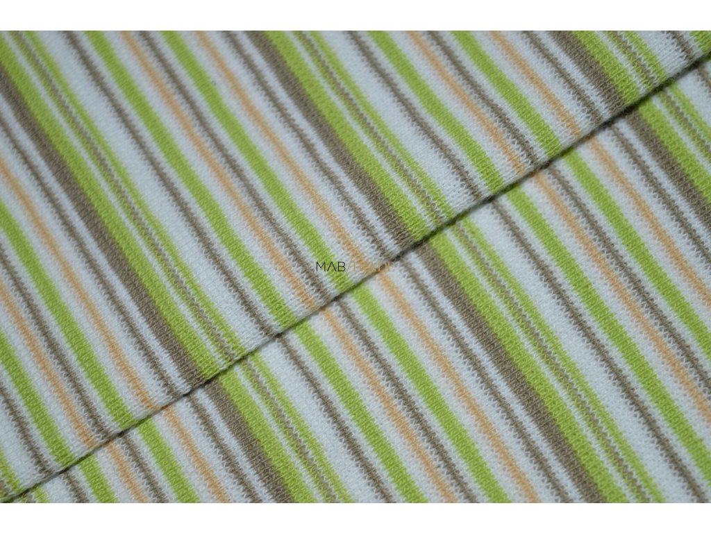 Bavlněný úplet - RIB 1x1 hladký Zelený a Béžový pruh Kód 6202-0010/R