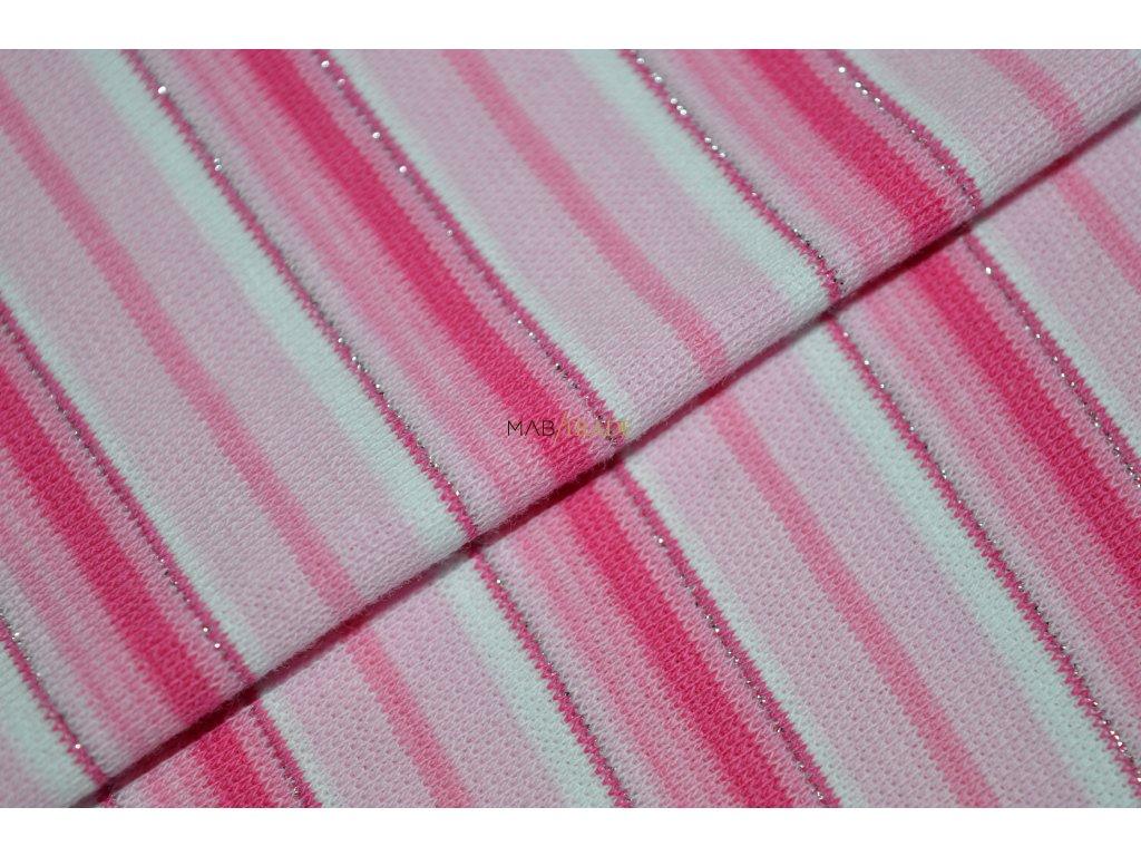 Bavlněný úplet - RIB 1x1 hladký Růžové Stříbrné a lurexové pruhy Kód 6202-0017/R