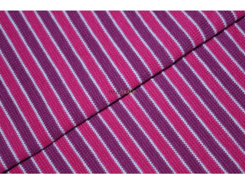 Bavlněný úplet - RIB 1x1 hladký Fuxiový a Vínový pruh Kód 6202-0016/R