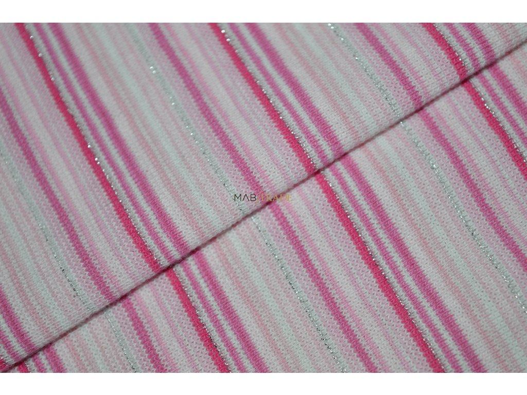 Bavlněný úplet - RIB 1x1 hladký -  tenký Růžový a lurexový pruh Kód 6202-0019/R