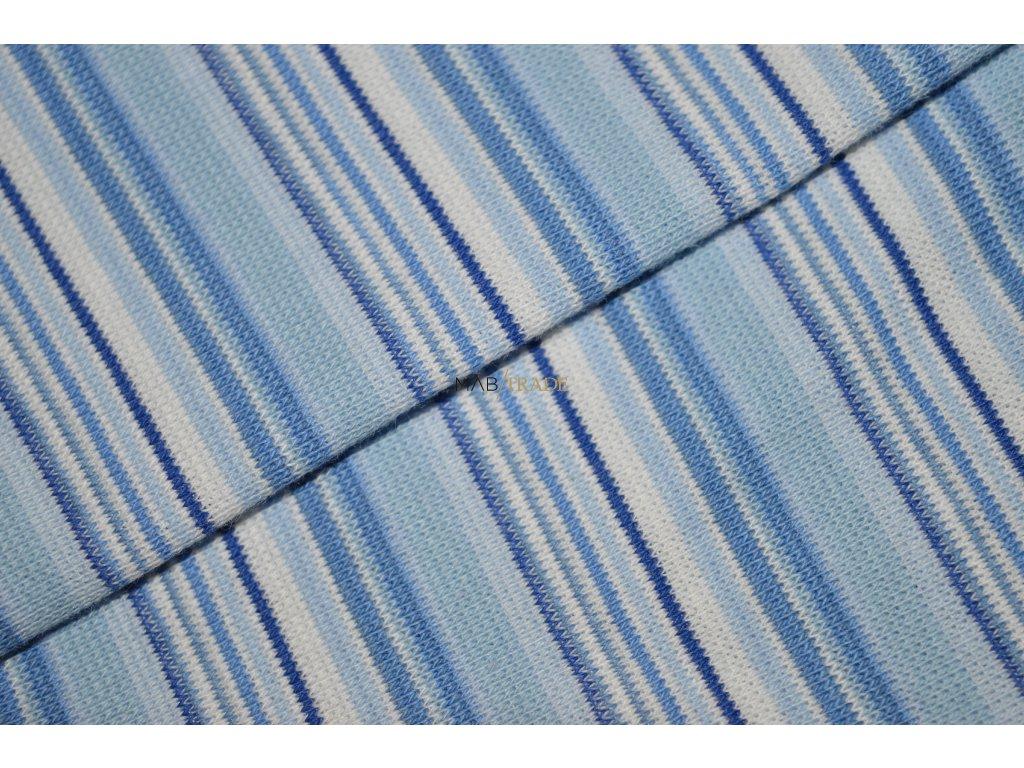 Bavlněný úplet - RIB 1x1 hladký odstíny Modré pruh Kód 6202-0013/R