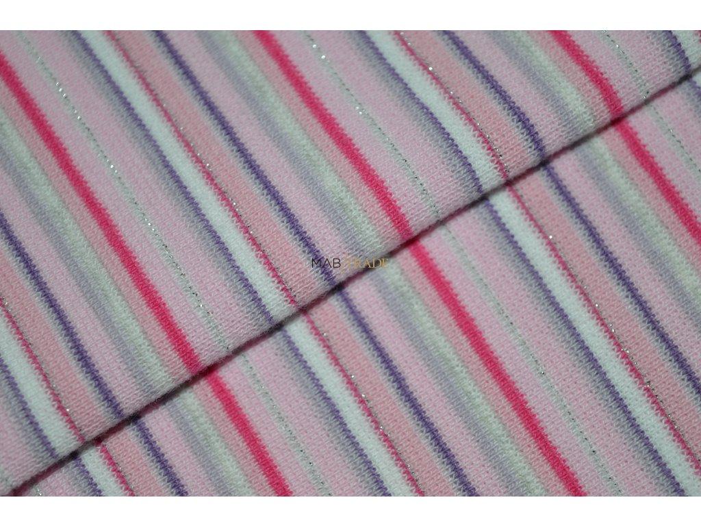 Bavlněný úplet - RIB 1x1 hladký Fialovo Růžový a lurex - pruh Kód 6202-0021/R