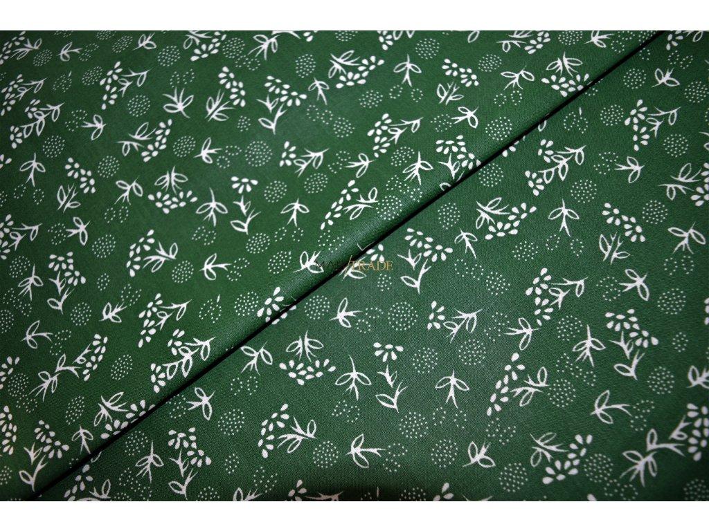 PLÁTNO 100% Ba Bílé květy na zelené Kód 1031-8800(21)