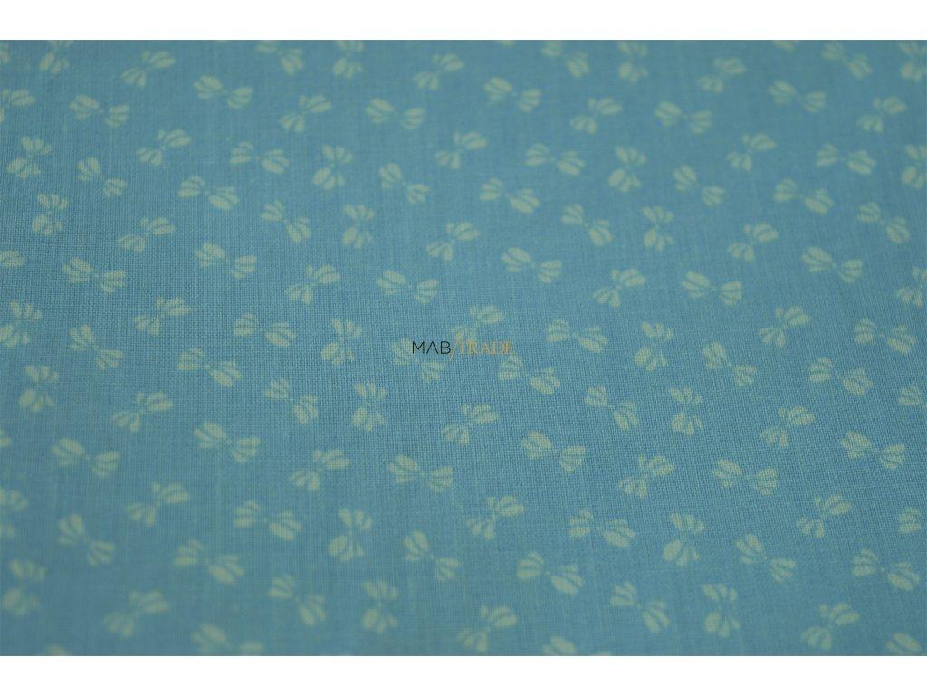 PLÁTNO 100% Ba Bílé mašličky na sv. modré Kód 1031-8800(23)