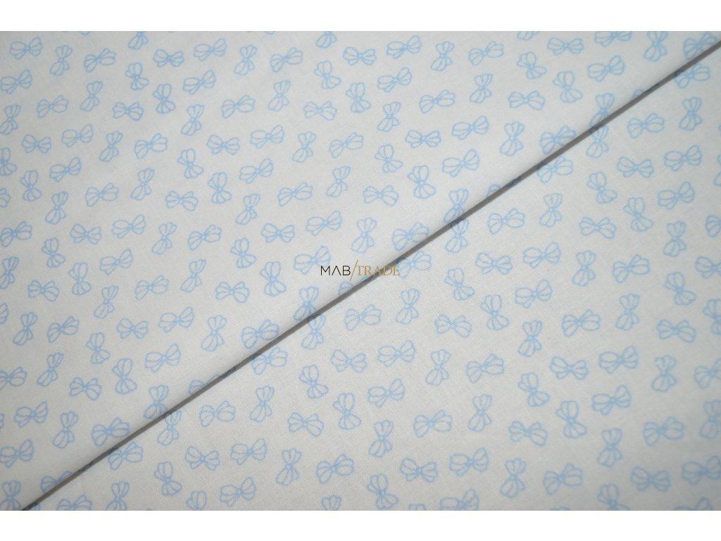 PLÁTNO 100% Ba Sv. modré mašličky na bílé Kód 1031-8800(24)