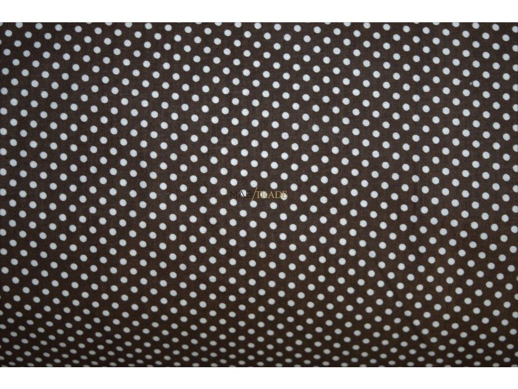 PLÁTNO 100% Bavlna Puntík na tmavě hnědé Kód 1031-356