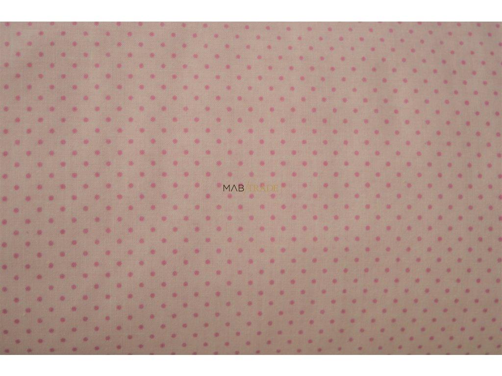 PLÁTNO 100% Bavlna Puntík na světle růžové Kód 1031-114