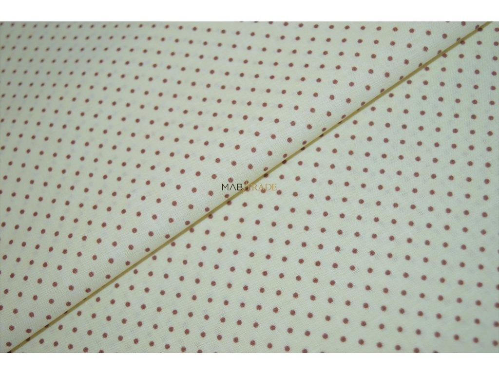 PLÁTNO 100% Bavlna hnědý puntík na sv. žluté Kód 1031-115