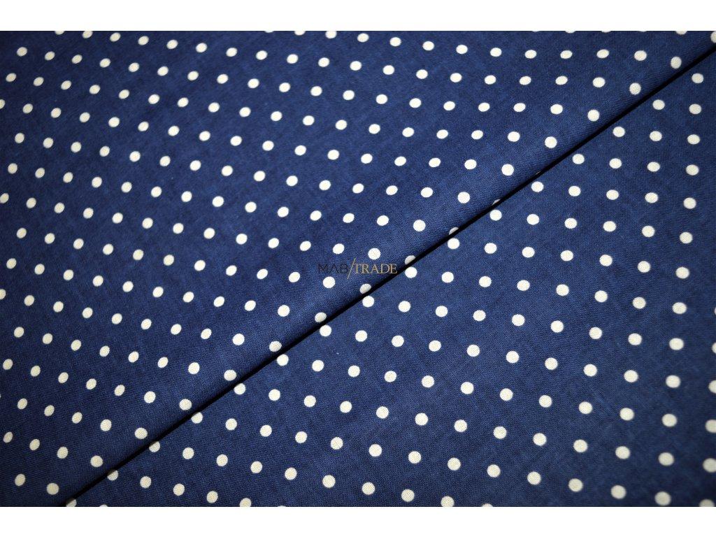 PLÁTNO 100% Bavlna puntík na tmavě modré Kód 1031-350