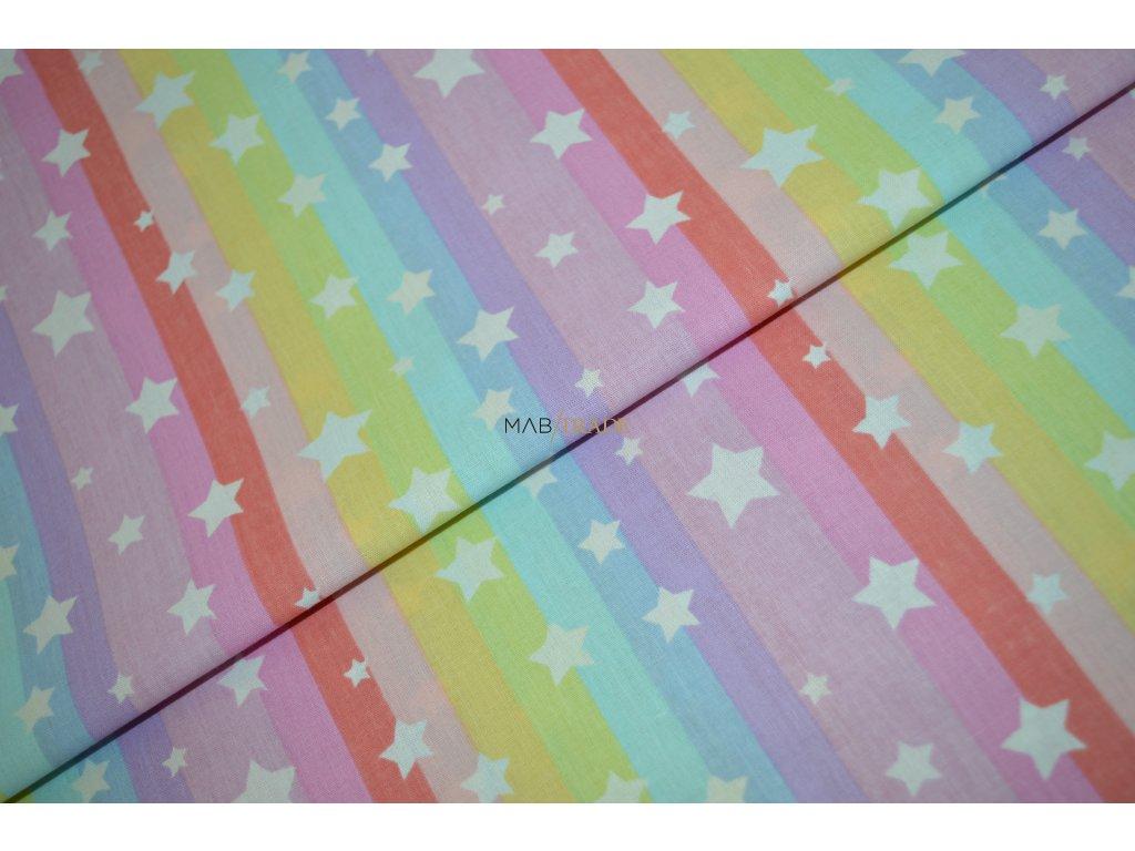 PLÁTNO 100% Ba Hvězdy a duhové pruhy Kód 1031-523/T