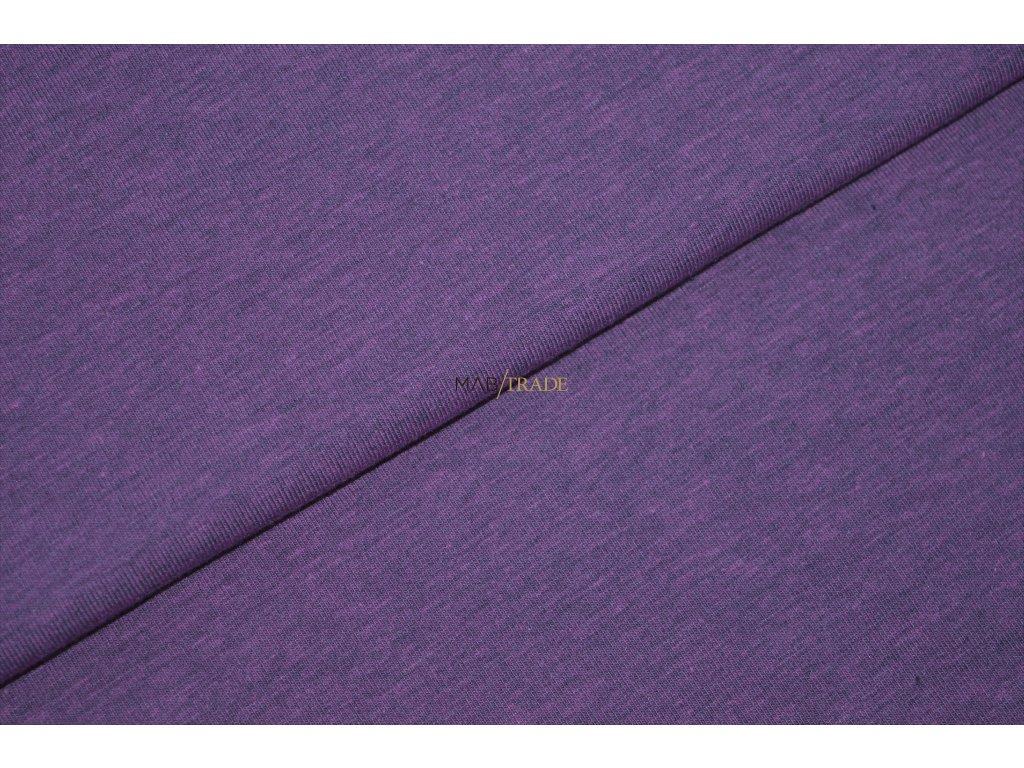 Bavlněný úplet - elastický jednolícní fitness melír Violet Kód 2966-1502