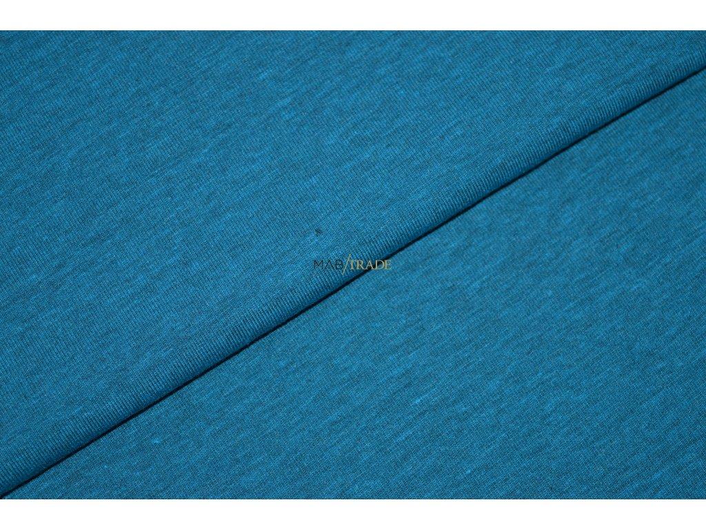 Bavlněný úplet - elastický jednolícní  fitness melír Tyrkys Kód 2966-21021