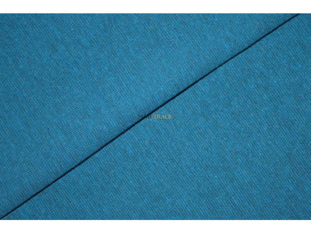 Bavlněný úplet - RIB 1x1 hladký s melírem Tyrkys Kód 6201-21021