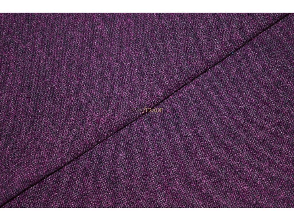 Bavlněný úplet - RIB 1x1 hladký s melírem Lilek Kód 6201-16031