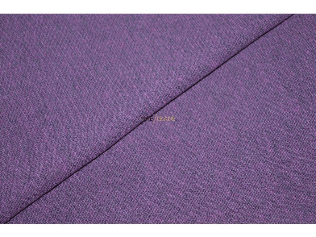 Bavlněný úplet - RIB 1x1 hladký s melírem Violet Kód 6201-15021