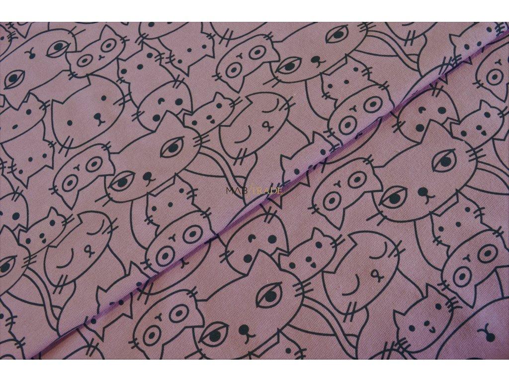 Elastická teplákovina Lila tisk Kočky  Kód 4840-1614