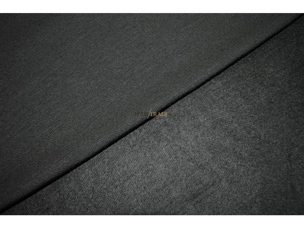 Elastická teplákovina Viskózová  počesaná tmavě Šedá Kód 4219-3003