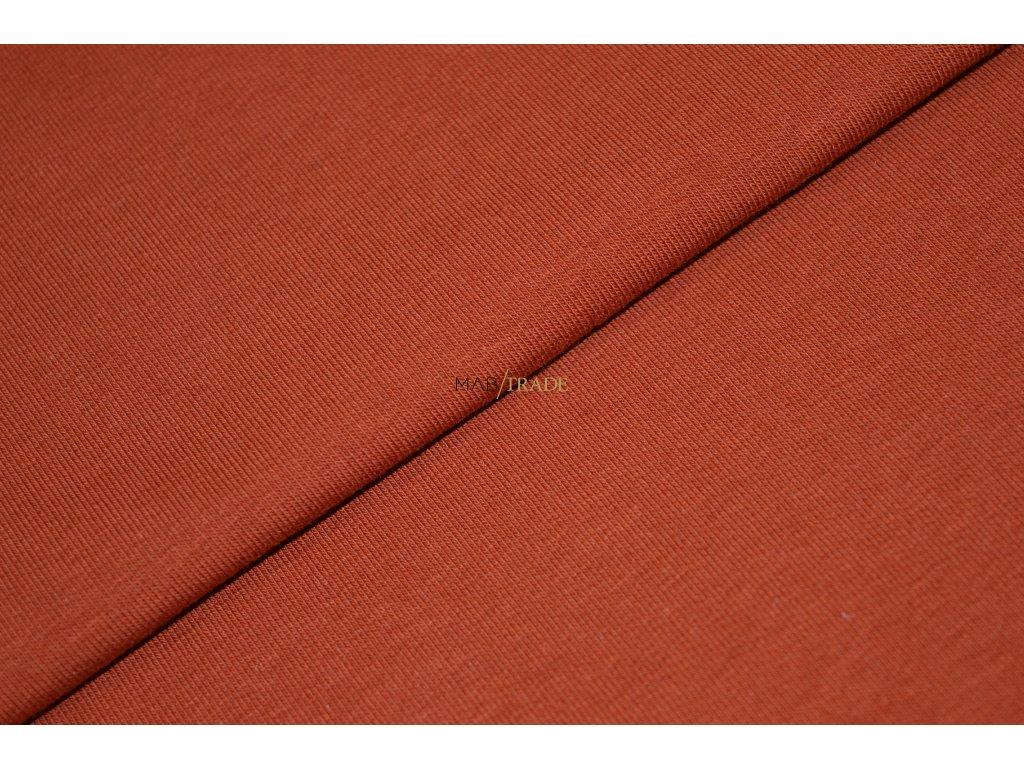 Bavlněný úplet - elastický jednolíc fitness Skořicová Kód 2906-8345