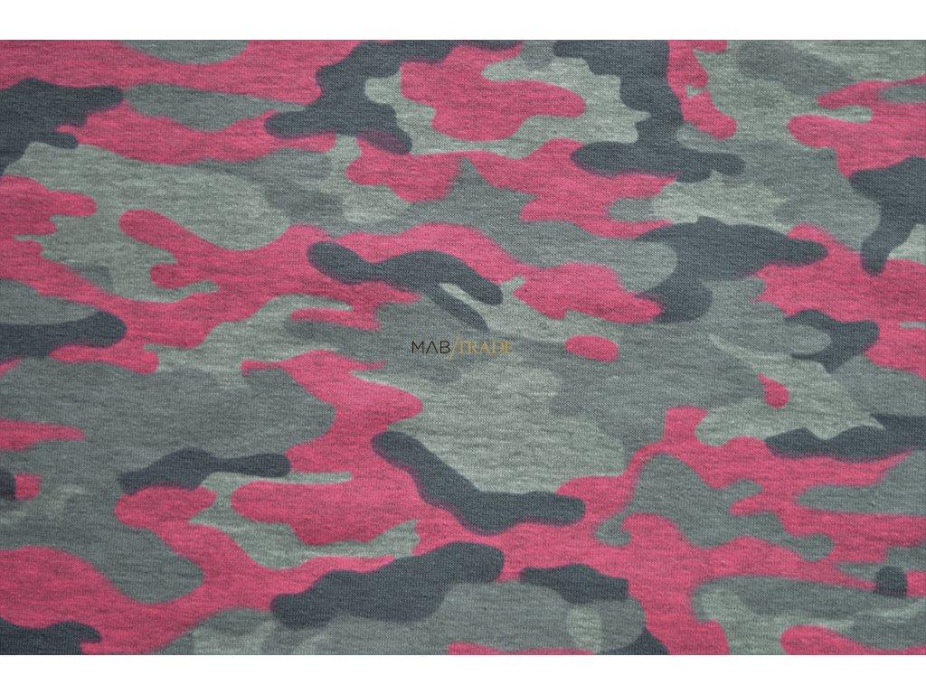 Teplákovina el. Tisk Army Růžová Kód 4842-2052