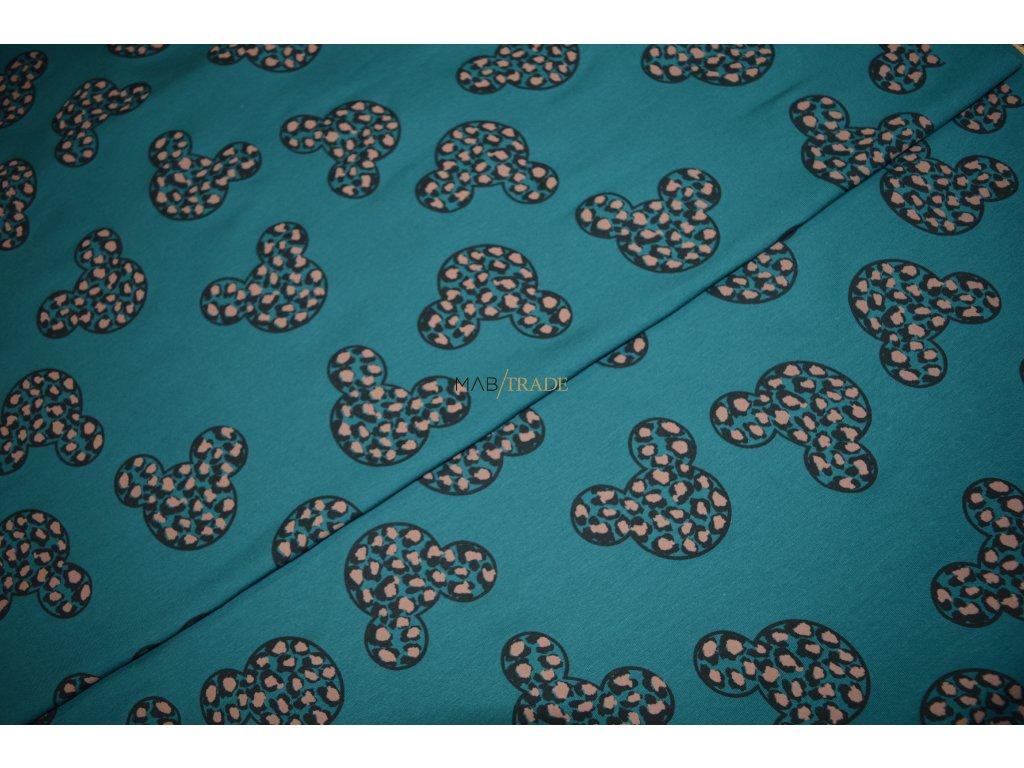 Elastická teplákovina tisk Myšky Army Smaragdová Kód 4842-2056