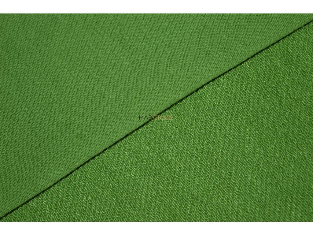 Elastická teplákovina  diagonál Ba/Pes hráškově Zelená Kód 4210-1304
