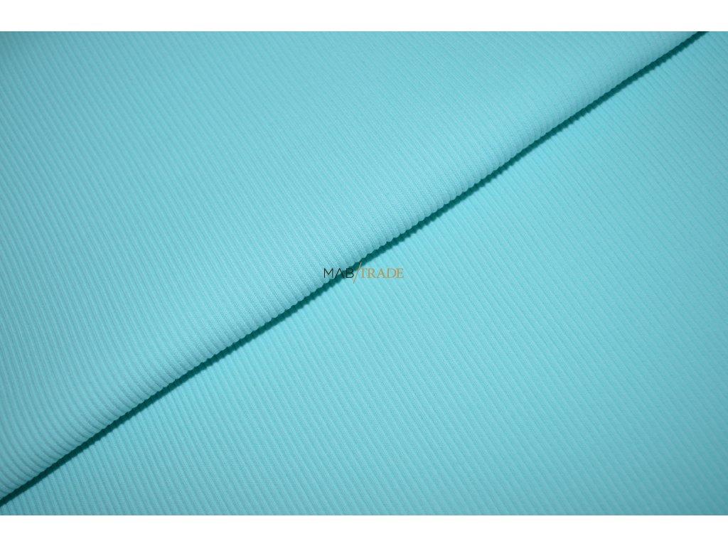 Bavlněný úplet - RIB 2x1 hrubý sv. Tyrkysový Kód 6222-2101