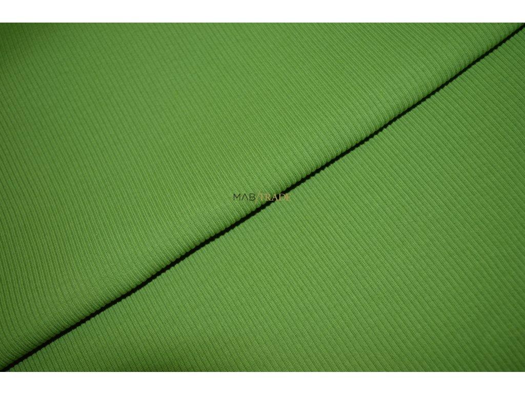 Bavlněný úplet - RIB 2x1 hrubý hráškově Zelený Kód 6222-1304