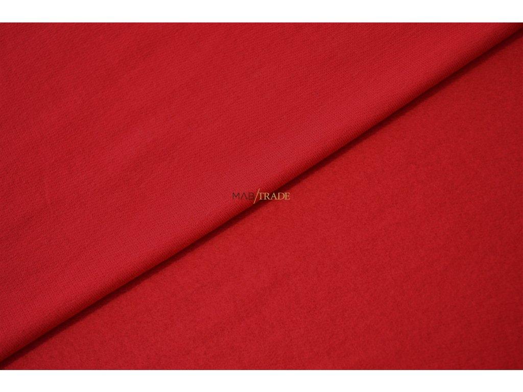 Elastická teplákovina Viskózová počesaná Červená Kód 4219-1105