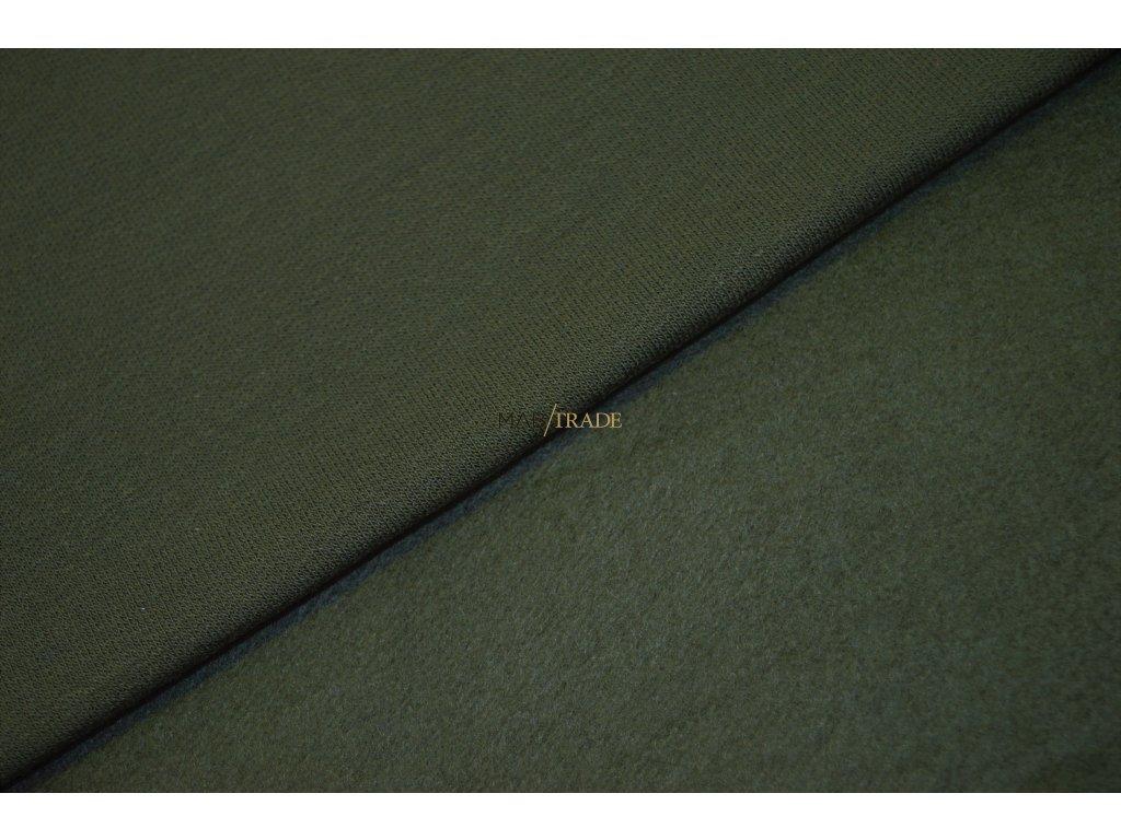 Elastická teplákovina Viskózová počesaná Khaki  Kód 4219-2808