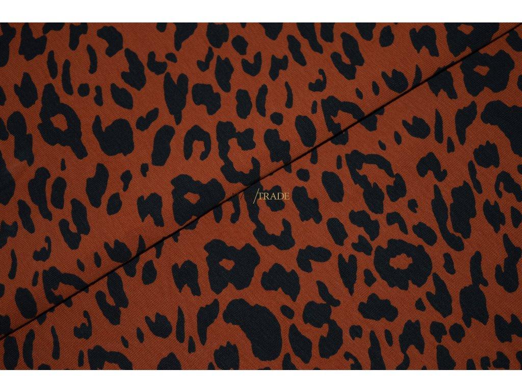 Bavlněný úplet - elastický jednolícní tisk Gepard na Skořicovém podkladu Kód 2902-8345