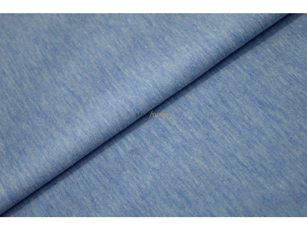 Teplákovina elastická melír - středně Modrá Kód 4216-2021