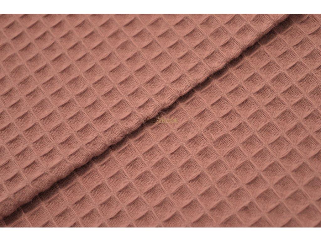 WAFLE - tkanina 100% Ba tmavě Starorůžová Kód 7410-1607