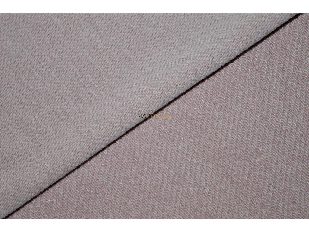 Elastická teplákovina  diagonál Lisa brus Ba/Pes středně Růžová Kód 4211-0903