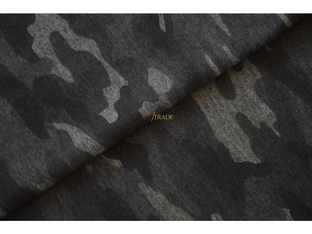 Elastická teplákovina tisk Army středně  Šedý melír Kód 4840-2055