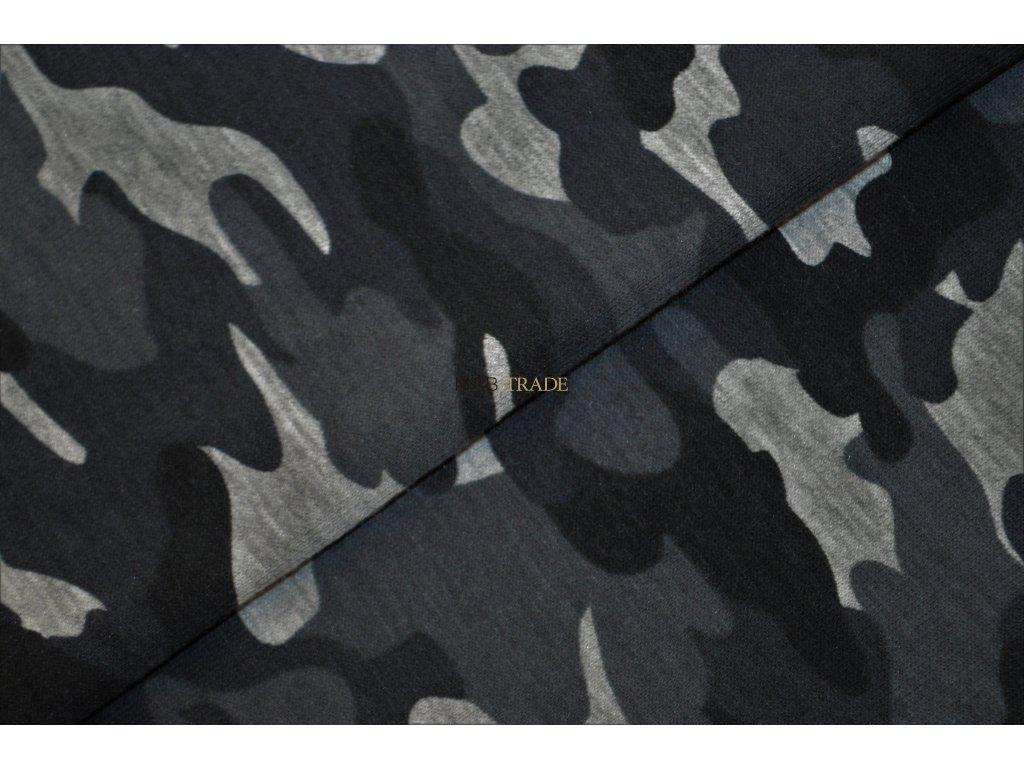 Elastická teplákovina tisk Army světle Šedý melír Kód 4840-2057