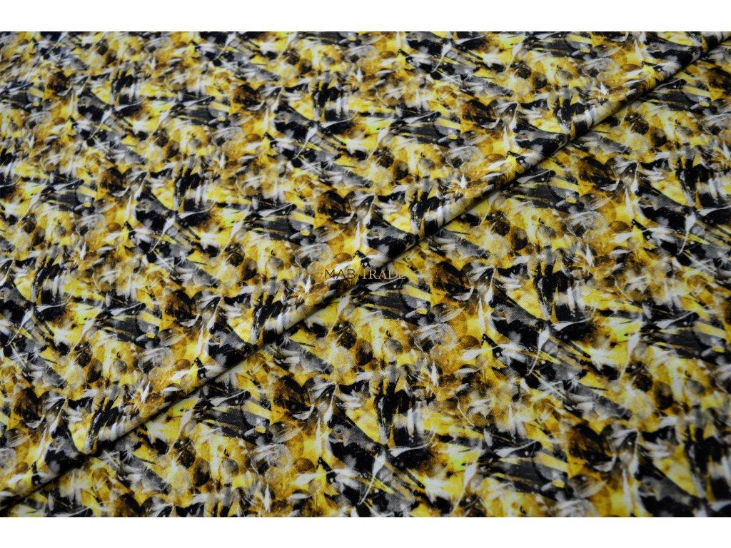 Viskózový úplet digi tisk Žluto šedý  Kód 9113-1129