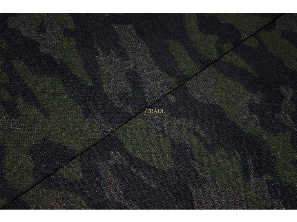 Bavlněný úplet - elastický jednolícní tisk Army na melír Koka  Kód 2902-5103