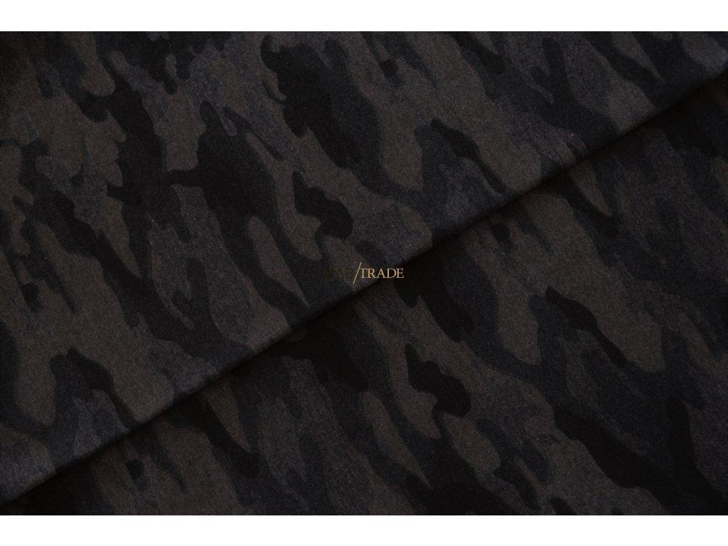 Bavlněný úplet - elastický jednolícní tisk Army - melír Šedo Fialový Kód 2902-5109