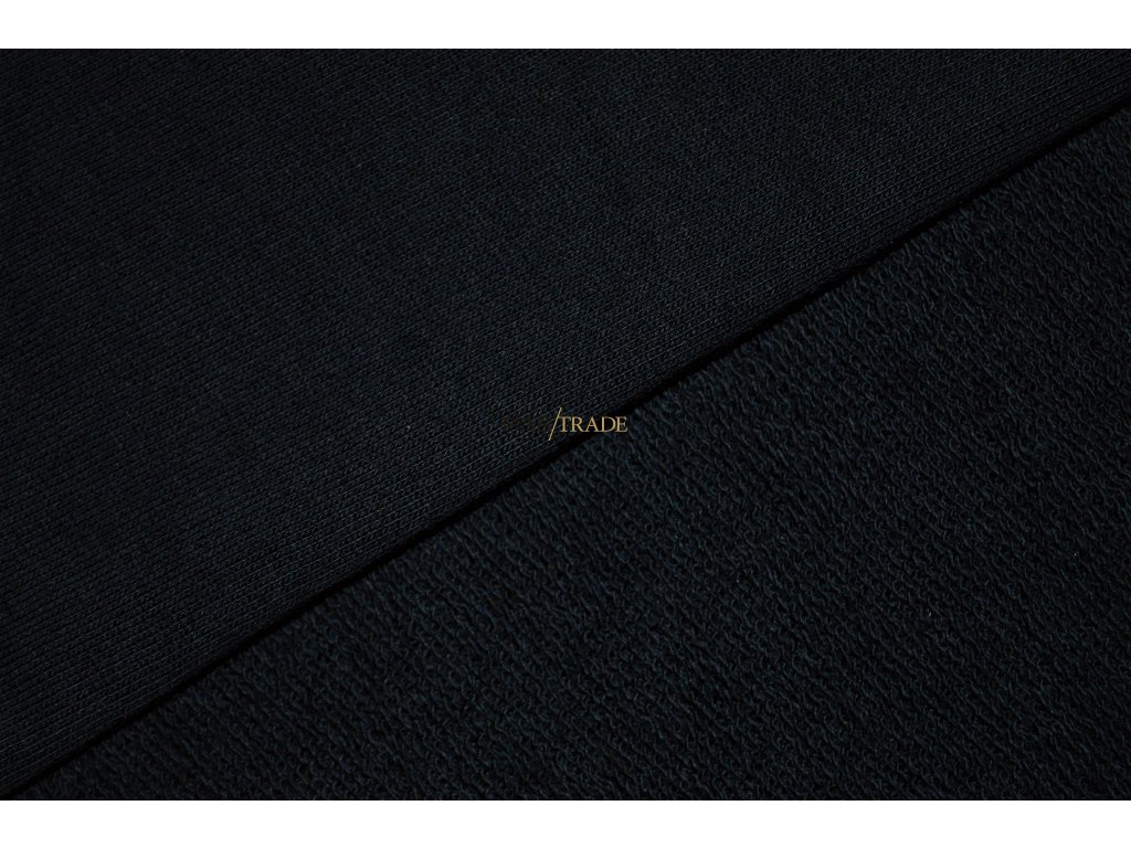 Jemně elastická teplákovina Třinitka 100 % Ba vyšší gramáž Černá Kód 4215-4002