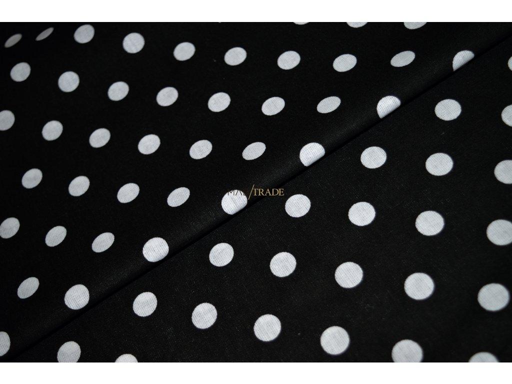PLÁTNO 100% Ba Velké bílé puntíky na černé Kód 1031-161